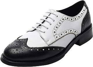 deda749f Rismart Mujer Brogue Dedo del Pie Puntiagudo Puntas De ala Oxfords Zapatos  De Cordones