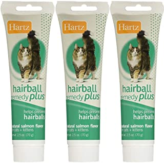 Hartz Hairball Remedy Plus Paste for Cats, Natural salmon 2.50 oz(Pack of 3)