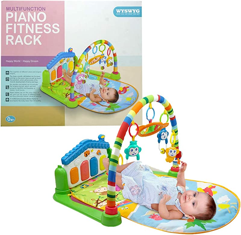 WYSWYG Baby Gym Jungle Musical Play Mats For Floor Kick And Play Piano Gym Activity Center With Music Lights And Sounds Toys For Infants And Toddlers Aged 0 To 6 12Months Old Blue