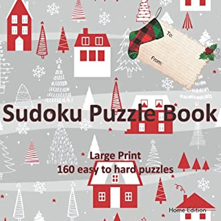 Sudoku Puzzle Book Large Print: 160 Puzzles Easy to Hard Home Edition (Gift Tag)