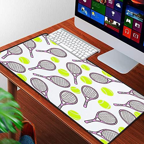 Luoquan Alfombrilla Raton Grande Gaming Mouse Pad,Patrón Deportivo con Pelota de Tenis y Raquetas en Estilo de diseño Plano,Lavable, Antideslizante Diseñada para Gamers, Trabajo de Oficina