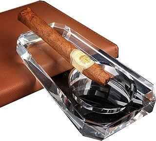 IUME Crystal Glass Cigar Ashtray Cigarette Holder Living Room Home Office Outdoor Travel for Women Men Tabletop Desk Decoration Decor Tray Box