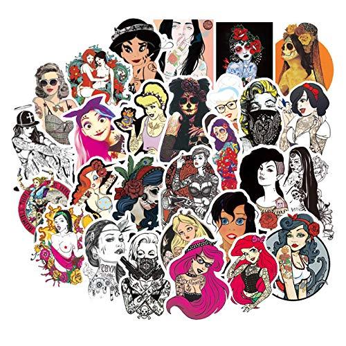 50 pegatinas de tatuaje de belleza de la personalidad del carro de la maleta de la maleta de la etiqueta engomada del equipaje de
