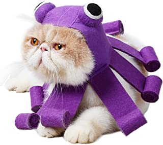 QBLEEV Lovely Octopus Pet Cat Cosplay Hat for Halloween Christmas Holidays. Headgear Hat Felt Adjustable Touch Fastens Costume Cap for Small Dogs,Easy to Use and Wear,Premium Quality Purple