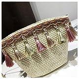 Bolsos Mujer Bolso para Mujer Hombro Messenger Bag Satchel Tote Purse Cross Body Estilo Nacional Straw Tassels Bags Beige