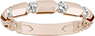 14K Rose Gold Moissanite by Charles & Colvard 2mm Round Fashion Ring, 0.24cttw DEW by Charles & Colvard