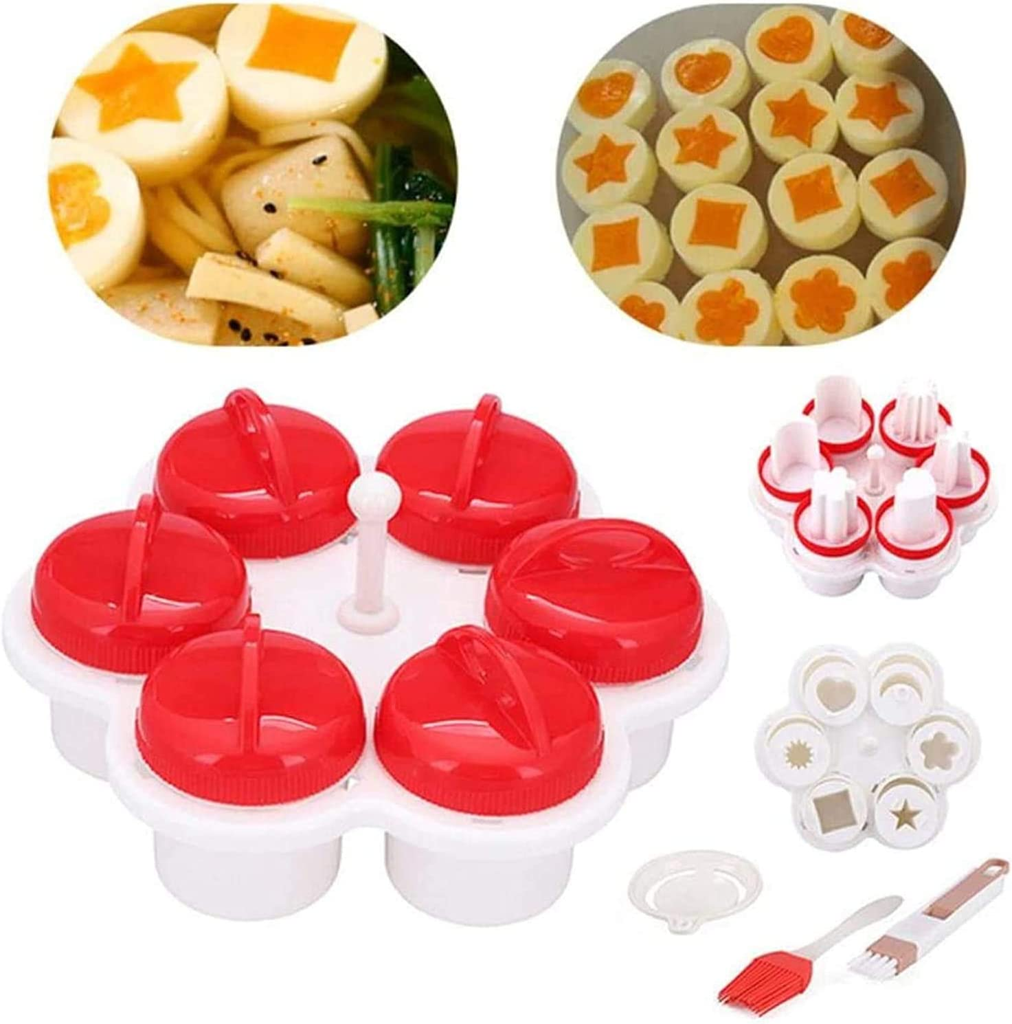 set di fornelli per uova in silicone con tazza di cottura per sollevatore e pusher 6 pezzi per Stampo Per Uova Sode Per Creare Forme Con Tuorlo dUovo,uova sode senza guscio Con pennello