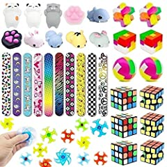 """Inlcude: 6 Pack Mini Cube, 6 Pack Puzzle, 8 Pcs Mochi Squishies, 10 Slap Bracelets, 10 Novelty Gyro Spiral Twister Toys Mochi Squishies, Size: 4-7cm / 1.58""""-2.76"""". Super cute squishies animal, suitable for both adults and children to play. 6 Fun Puzz..."""