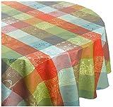 Garnier-Thiebaut Mille Couleurs PARIS French Jacquard Tablecloth, 69 Inch Round, 100% COATED Cotton