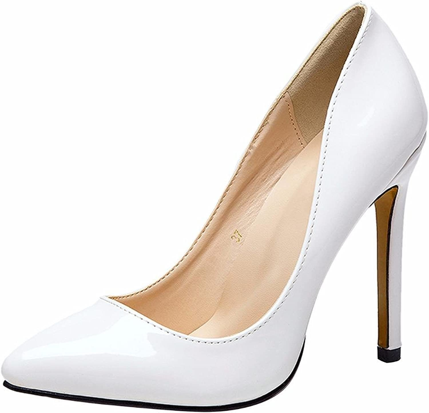 CAMSSOO Women High Heels Pointed Toe Dress Pumps Slip on Stiletto Wedding Party Basic shoes