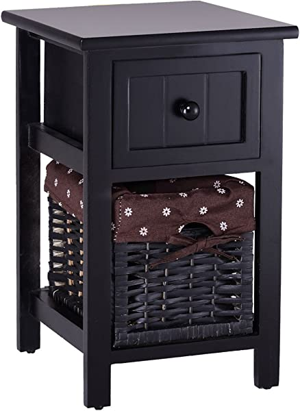 Black 18 Wooden Nightstand Bedside Storage End Table Organizer W Basket Drawer