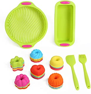 40 Piece Silicone Bakeware Set Nonstick Silicone Baking Cake Mold Set BPA Free Loaf Pans Silicone Cupcake Liners Muffin Cups Silicone Donut Molds with Pastry Brush and Silicone Spatula by To encounter