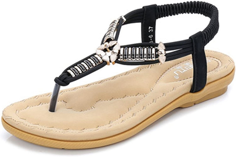 GIY Women's Bohemian Sparkle Flip Flops Metallic Summer Beach Thong Comfort Elastic Flat Sandals White