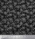 Soimoi Schwarz Baumwoll-Voile Stoff Spinnennetz, Crossbone