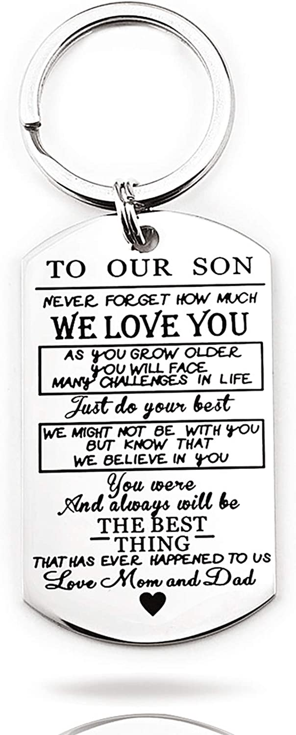 Son Gift from Mom Dad Family Jewelry Keychain for Him Cute Funny Stainless Steel Men Boys Teen Key Ring Message Pendent Charm for Graduation, Back To School, Birthday, Christmas