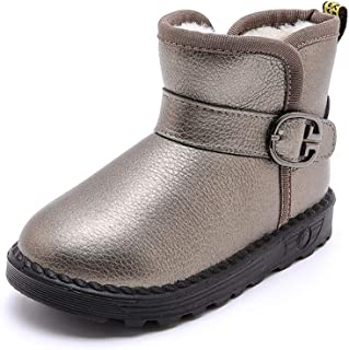 Favorjojo Boys and Girls Classic Leather Strap Waterproof Outdoor Faux Fur Snow Boots (Toddler/Little Kid/Big Kid)