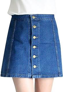 تنورة جينز للنساء تنورة جينز جينز بأزرار أسفل خصر عالٍ تنورة قصيرة جينز بقصة A لاين تنانير قصيرة