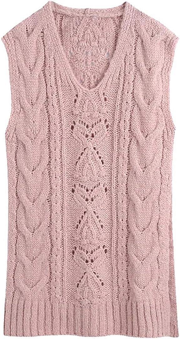 Women Loose Long Cable-Knit Vest Sweater Louisville-Jefferson County Mall V Side Vintage Ven Neck Under blast sales