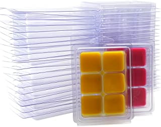 DGQ Wax Melt Molds - 50 Packs Clear Empty Plastic Wax Melt Clamshells for Wickless Wax Melt Candles