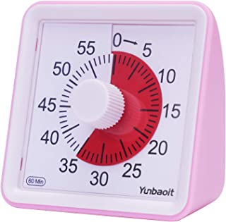Yunbaoit Visual Analog Timer,Silent Countdown Clock, Time Management Tool for Kids and Adults (Pink)