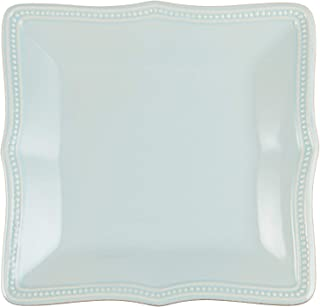 Lenox French Perle Bead Square Accent Plate, Ice Blue, Set of 4