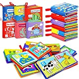 FancyWhoop 6 Stück Stoffbuch für Babys Bilderbuch Fühlbuch Baby Soft Babybuch stoff Tuchbuch Badebuch für Kinder Pädagogisches Babyspielzeug für Jungen Mädchen Babyparty (Rot)