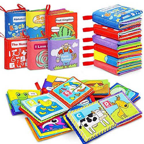 6 Pezzi Libro Stoffa Bambini interattivo Libro Tattile Cognition Libri Tessuto per Bambini...