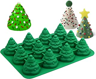 3D Christmas Tree Silicone Mold, 12 Cavities Jumbo Christmas Tree Mold for Mousse Cake, Muffin, Candles, Ice Cube, Jello, Chocolate, Soap, Fondant and Cake Decorating, 13.7 x 10.31 x 2.8 Inch