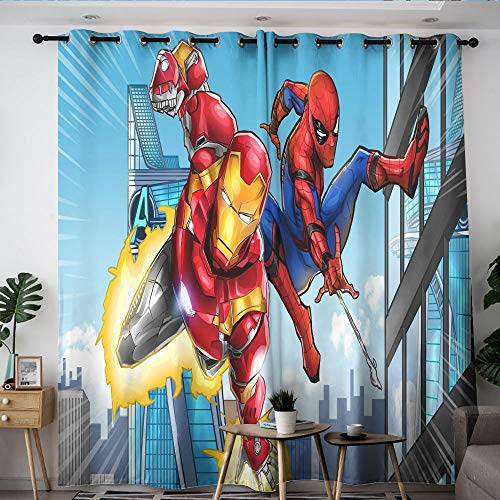 Elliot Dorothy Iron Man Spiderman The Avengers Superhero Solid Grommet Blackout Curtains Curtains for Living Room Waterproof Window Curtain for Windows Decoration W72 x L63