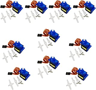 TINONE 10PCS SG90 9G Micro Servo Motor Kit for RC Helicopter Airplane Remote Control Fixed Wing Helicopter KT Glide Small Robot Manipulator
