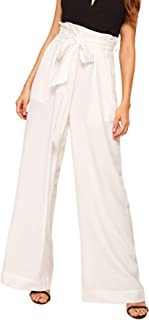 Verdusa Women's High Waist Button Fly Wide Leg Pants Long Palazzo Trousers