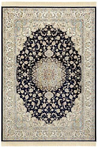 Nouristan Orientalischer Samt-Teppich mit Fransen Antik Nain NAVEH (195 x 300 cm, 60% Viskose, 40% Baumwolle, Fußbodenheizung geeignet), Dunkelblau Grün