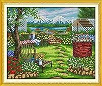 刺繍 湖畔中庭の風景クロスステッチ 刺繍セット 初心者向けスタンプ済み刺繍キット 刺しゅうキット 完璧な壁の装飾 キャンバス-11CT 40×50cm-フレームなし