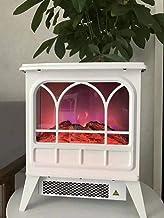 Chimenea Eléctrica Chimenea Eléctrica con Efecto Llama 3D Y Chimenea De Leña 1800 W Dormitorio Salón Comedor Chimenea Eléctrica Portátil Blanca