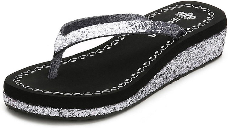 Summer Women Wedge Sandals Flip Flops Slope with Rubber Sole Non-Slip Slippers,Black,36