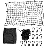 Magiin 4'x 6' Super Duty Cargo Net for Trailer Pickup Truck Bed Net with 12 Clip Carabiners (stretch to 8'x 12') Black