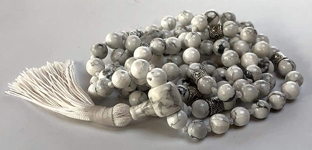 Certified Energized Mala Beads Necklace with COA - Chakra Mala - Japa Mala - 8mm 108 Buddhist Prayer Beads - Meditation Mala - Tassel Necklace – Zodiac/Sun Sign Stones (White Howlite)