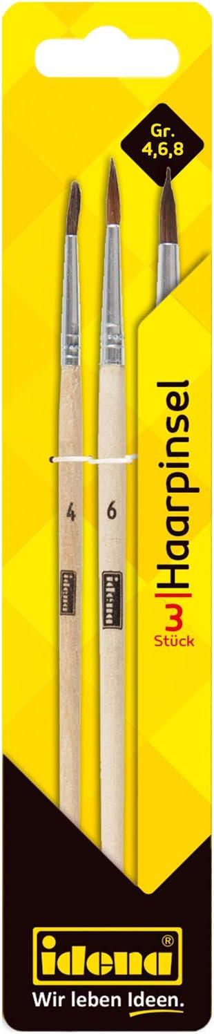 Idena 60107 6 /& 8 Hair Brushes FSC 100/% Set of 3 in Sizes 4