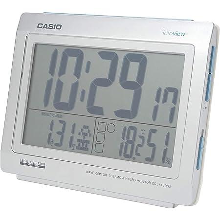 CASIO(カシオ) 目覚まし時計 電波 シルバー デジタル 常時点灯 生活環境 温度 湿度 カレンダー 表示 DQL-130NJ-8JF