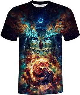 Men Casual Top 3D Owl Print Summer Short Sleeve Printing T-Shirts Tee Loose Tee Shirt