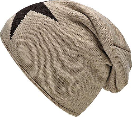 Bonnet chaud d'hiver Chapeau d'automne avec laine polaire Star Doublure gris noir bleu taupe gris clair gris foncé beige vin rouge par ESTABLISHED SEVENTY9, Couleur: Beige