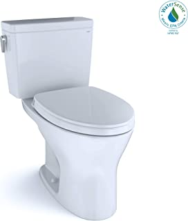 TOTO MS746124CUMG#01 Drake 1G Two-Piece Elongated Dual Flush 1.0 and 0.8 GPF DYNAMAX TORNADO FLUSH Toilet with CEFIONTECT and SoftClose Seat, WASHLET+ Ready, Cotton White
