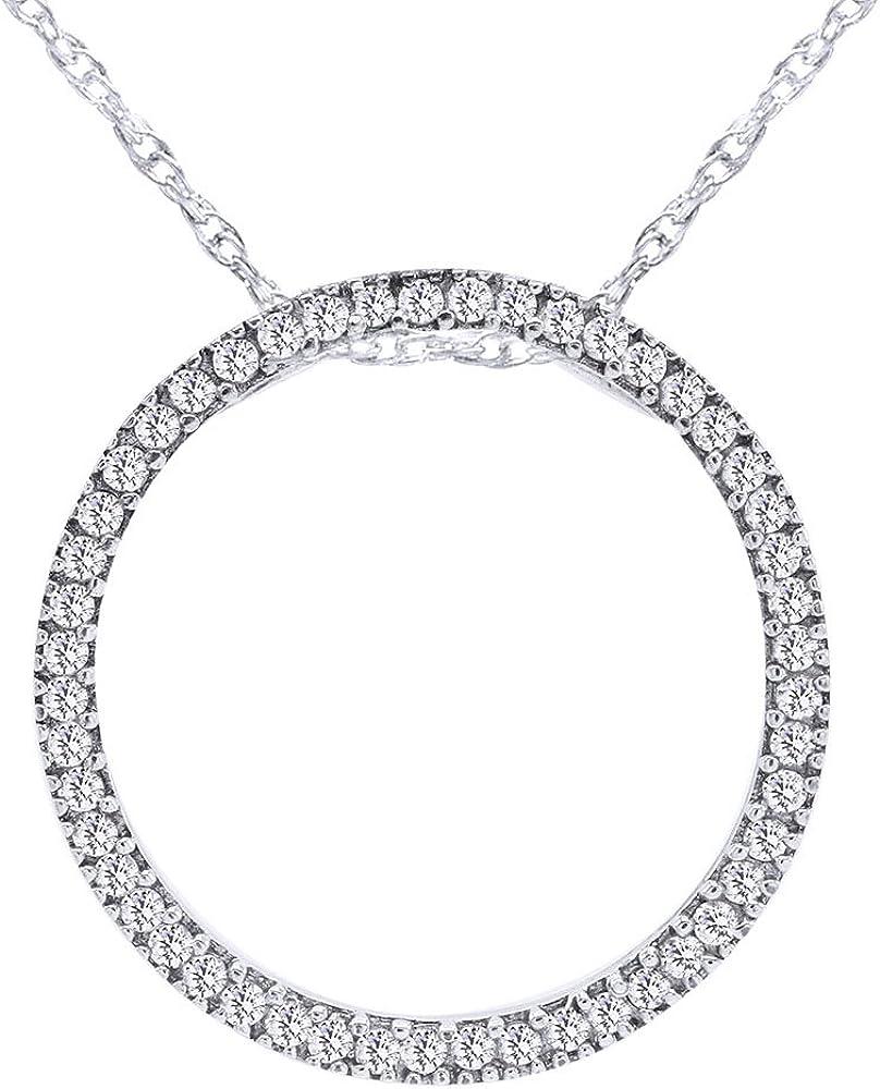 Wishrocks Round White CZ Circle Necklace Max 59% OFF Kansas City Mall of Life Pendant Sterlin