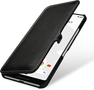 StilGut Case Compatible with Google Pixel 3XL Flip Cover Made of Genuine Leather, Black with Clasp
