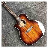 YYYSHOPP Guitarra Sólido KOA Guitarra acústica eléctrica de la Guitarra eléctrica acústica Izquierda de la Tapa de Madera Superior con un patrón de Resplandor Solar y cáscara Dura