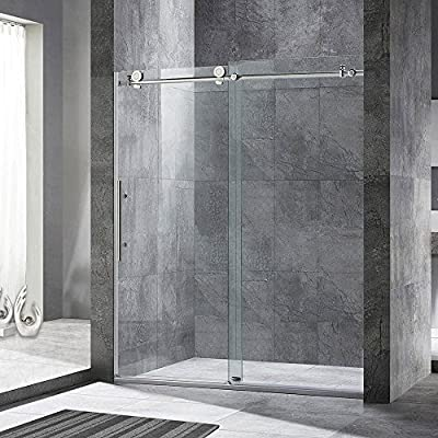 "WOODBRIDGE MBSDC6076C Frameless Sliding Shower, 56""-60"" Width, 76"" Height, 3/8"" (10 mm) Clear Tempered Glass, Chrome Finish, MBSDC6076-C, C-Series: 60""x76"""