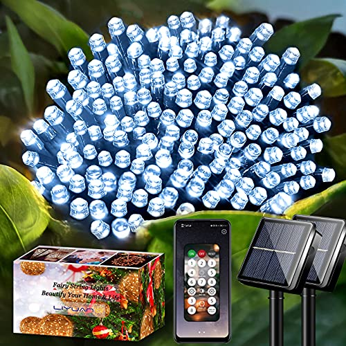 LiyuanQ Solar String Lights Outdoor with APP Controlled, 2 Set 72ft 200 LED Waterproof Fairy Lights 8 Modes String Lights Solar Powered for Garden Lawn Fence Tree Holiday Christmas Party (Cool White)