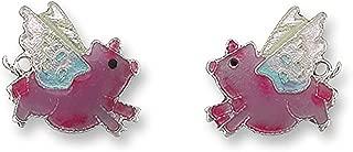 Pink Flying Pig Post Stud Earrings .5 inch By Zarah