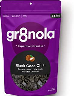 gr8nola BLACK COCO (CHARCOAL) CHIA - Healthy, Low Sugar, Vegan Granola Cereal - Made with Superfoods Coconut Flakes, Chia ...