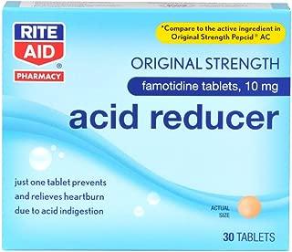 Rite Aid Acid Reducer, Original Strength Famotidine Tablets, 10 mg - 30 Count   Heartburn Relief